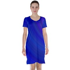 Blue Background Abstract Blue Short Sleeve Nightdress