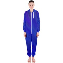 Blue Background Abstract Blue Hooded Jumpsuit (ladies)