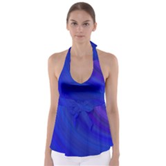 Blue Background Abstract Blue Babydoll Tankini Top