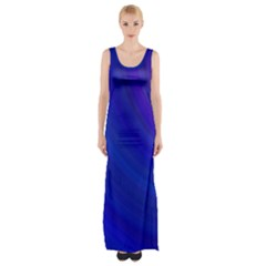 Blue Background Abstract Blue Maxi Thigh Split Dress