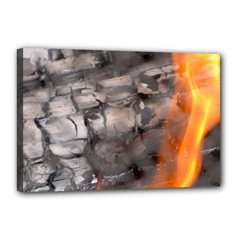 Fireplace Flame Burn Firewood Canvas 18  X 12