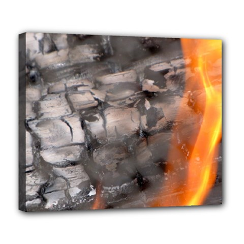 Fireplace Flame Burn Firewood Deluxe Canvas 24  X 20