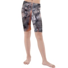 Fireplace Flame Burn Firewood Kids  Mid Length Swim Shorts