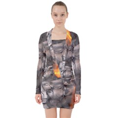 Fireplace Flame Burn Firewood V Neck Bodycon Long Sleeve Dress