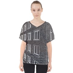 Graphics House Brick Brick Wall V Neck Dolman Drape Top