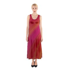 Abstract Red Background Fractal Sleeveless Maxi Dress