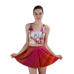 Abstract Red Background Fractal Mini Skirt