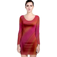 Abstract Red Background Fractal Long Sleeve Bodycon Dress