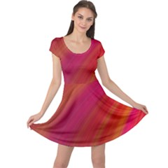 Abstract Red Background Fractal Cap Sleeve Dress