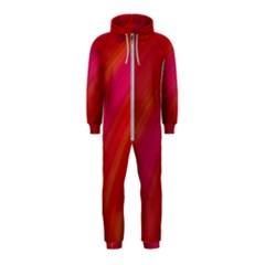 Abstract Red Background Fractal Hooded Jumpsuit (kids)