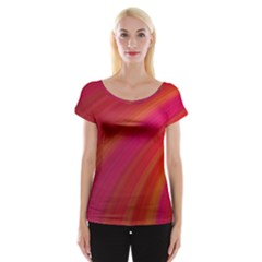 Abstract Red Background Fractal Cap Sleeve Tops