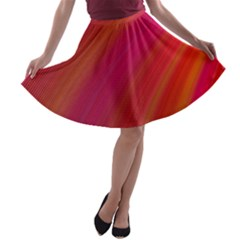 Abstract Red Background Fractal A Line Skater Skirt