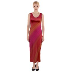 Abstract Red Background Fractal Fitted Maxi Dress