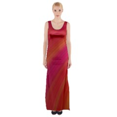 Abstract Red Background Fractal Maxi Thigh Split Dress
