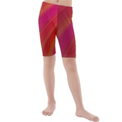 Abstract Red Background Fractal Kids  Mid Length Swim Shorts