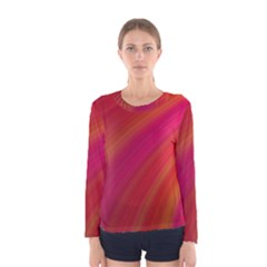 Abstract Red Background Fractal Women s Long Sleeve Tee