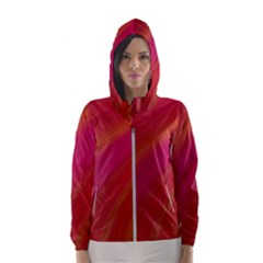 Abstract Red Background Fractal Hooded Wind Breaker (women)