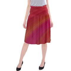 Abstract Red Background Fractal Midi Beach Skirt