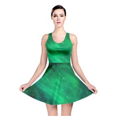 Green Space All Universe Cosmos Galaxy Reversible Skater Dress