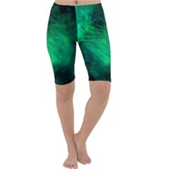 Green Space All Universe Cosmos Galaxy Cropped Leggings