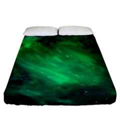 Green Space All Universe Cosmos Galaxy Fitted Sheet (california King Size)