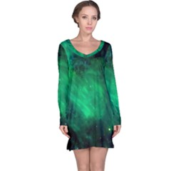 Green Space All Universe Cosmos Galaxy Long Sleeve Nightdress