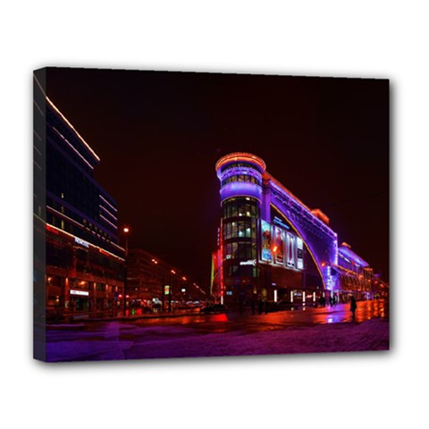 Moscow Night Lights Evening City Canvas 14  X 11
