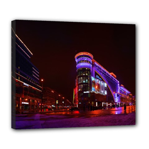 Moscow Night Lights Evening City Deluxe Canvas 24  X 20