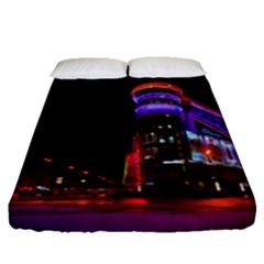 Moscow Night Lights Evening City Fitted Sheet (queen Size)