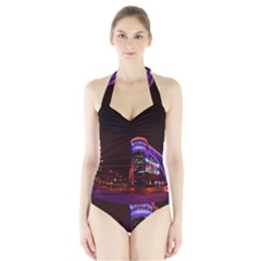 Moscow Night Lights Evening City Halter Swimsuit