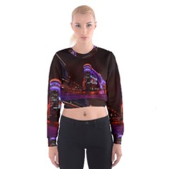 Moscow Night Lights Evening City Cropped Sweatshirt