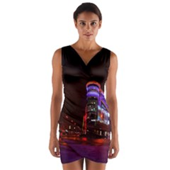 Moscow Night Lights Evening City Wrap Front Bodycon Dress