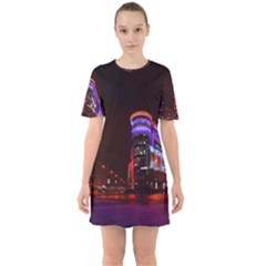 Moscow Night Lights Evening City Sixties Short Sleeve Mini Dress