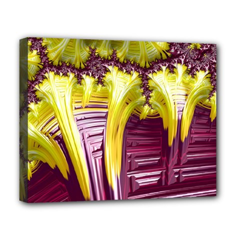Yellow Magenta Abstract Fractal Deluxe Canvas 20  X 16