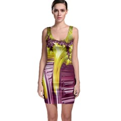 Yellow Magenta Abstract Fractal Bodycon Dress
