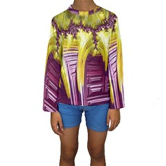 Yellow Magenta Abstract Fractal Kids  Long Sleeve Swimwear