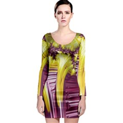 Yellow Magenta Abstract Fractal Long Sleeve Bodycon Dress