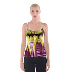 Yellow Magenta Abstract Fractal Spaghetti Strap Top