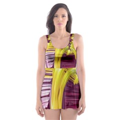 Yellow Magenta Abstract Fractal Skater Dress Swimsuit