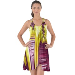 Yellow Magenta Abstract Fractal Show Some Back Chiffon Dress