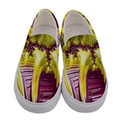 Yellow Magenta Abstract Fractal Women s Canvas Slip Ons