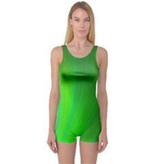 Green Background Abstract Color One Piece Boyleg Swimsuit