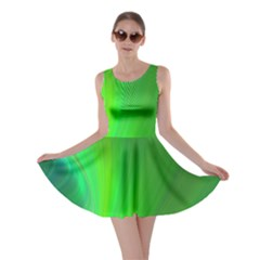 Green Background Abstract Color Skater Dress