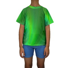 Green Background Abstract Color Kids  Short Sleeve Swimwear