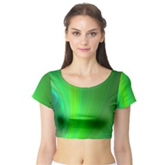 Green Background Abstract Color Short Sleeve Crop Top
