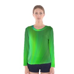 Green Background Abstract Color Women s Long Sleeve Tee