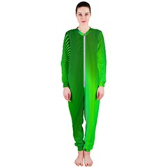 Green Background Abstract Color Onepiece Jumpsuit (ladies)