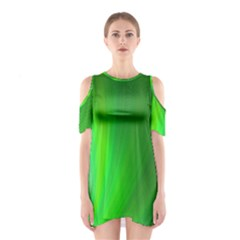 Green Background Abstract Color Shoulder Cutout One Piece