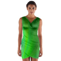 Green Background Abstract Color Wrap Front Bodycon Dress