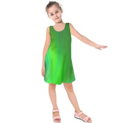 Green Background Abstract Color Kids  Sleeveless Dress